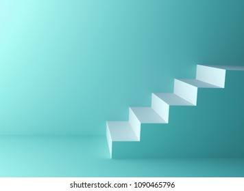 Green pastel color wall background with white stairs . 3D rendering.