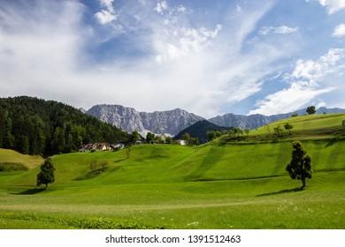green pasture in Austria alps near border with Slovenia, Carinthia region