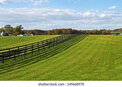 Green pastures on a farm in rural Central New Jersey.