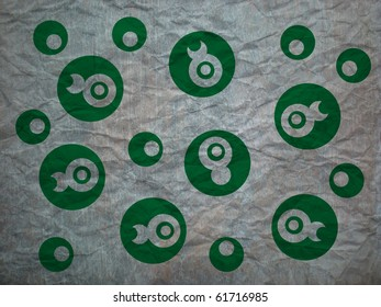 green pattern on crumpled paper