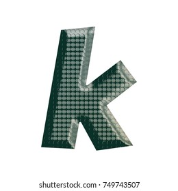 Green patterned metal basic bold style lowercase or small letter K in a 3D illustration with an industrial circular riveted rough surface texture isolated on a white background with clipping path.