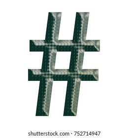 Green patterned metal bold style hashtag social media icon or pound sign symbol in a 3D illustration with a camping inspired riveted surface texture isolated on a white background with clipping path.