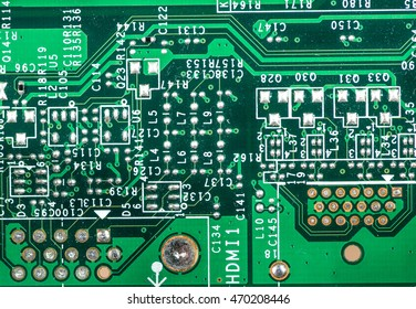 green pcb board integrated circuit close up technology background highly detailed
