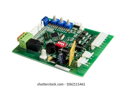 Green PCB with components, isolat
