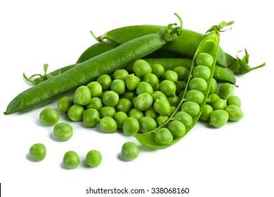 green pea pod, green peas, white background