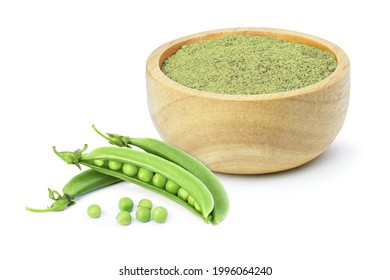 Green pea protein powder in wooden bowl and fresh green pea with seeds isolated on white background.