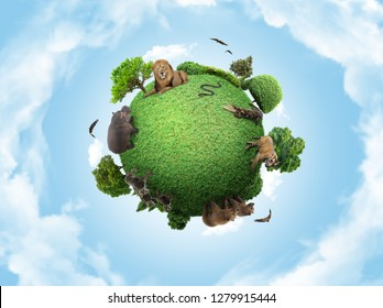 Green peace earth, miniature planet, globe concept showing a green, peaceful and animals carnivore life
