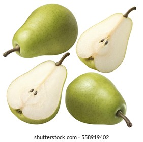Green pear 4 set collection isolated on white background as package design element