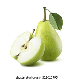 Green pear apple half isolated on white background as package design element
