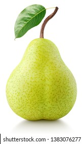 Green pear fruit with leaf isolated on white with clipping path