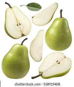 Green pear pieces set collection isolated on white background as pack design element