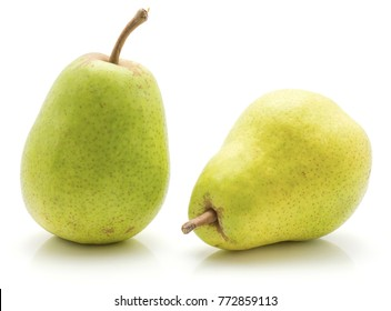 Green pears isolated on white background two whole