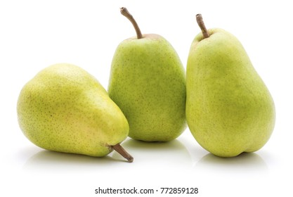 Green pears isolated on white background three set