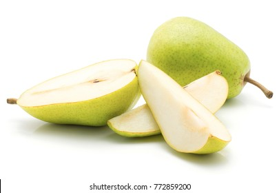 Green pears stack isolated on white background one whole one half and two slices