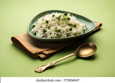 Green peas Basmati rice or matar pulav, served with plain dal