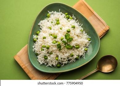 Green peas Basmati rice or matar pulav, served with plain dal