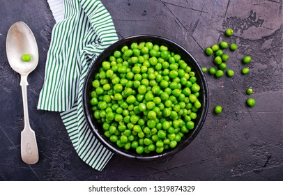green peas in bowl on a table