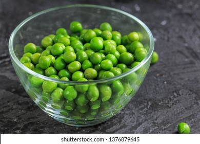 Green Peas in a glass bowl.