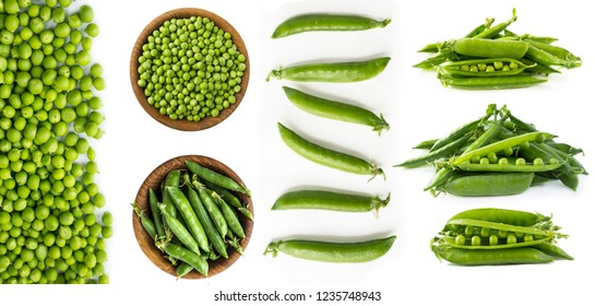 Green peas isolated on a white background. Vegetables with copy space for text. Fresh green peas on a white background. Studio photo. Isolated macro food photo close up from above on white background