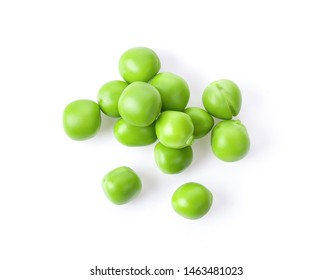 Green peas isolated on white background. top view