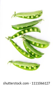 green peas on a white background. raw diet