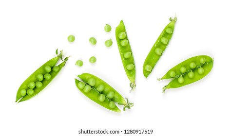 green peas in pods on a white background