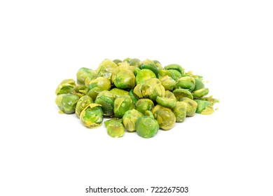 Green peas with salt isolated on white background.