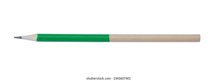 Green pencil isolated on white background