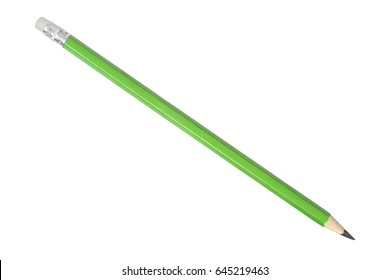 Green pencil isolated on white background.
