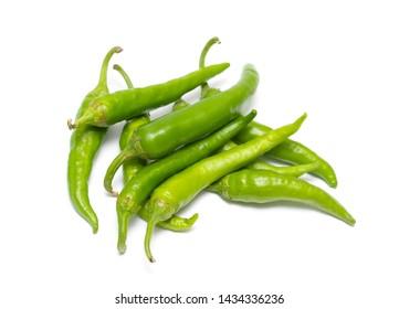 Green pepper bitter isolated on white background.