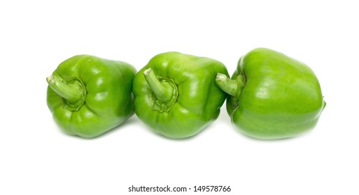 Green pepper on white
