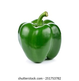 Green pepper on white background