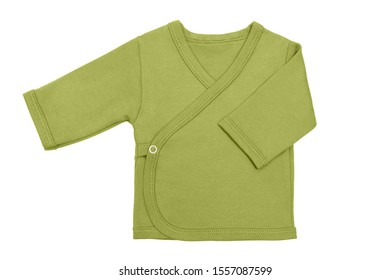 green pepper stem baby girl baby's loose jacket with long sleeve isolated on a white background.