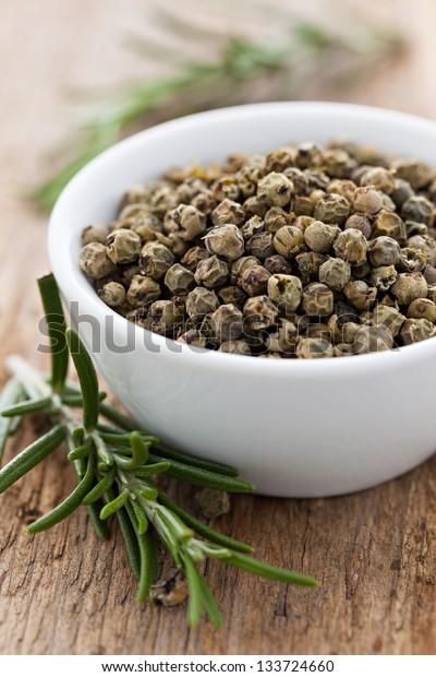 green peppercorns in a bowl