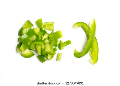 Green peppers isolated on white background top view