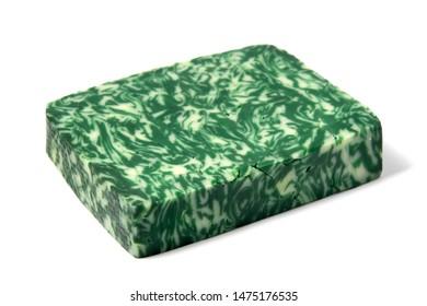 Green pesto gouda cheese on a white background