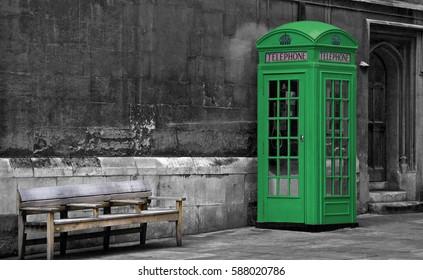 Green phone box in London, United Kingdom