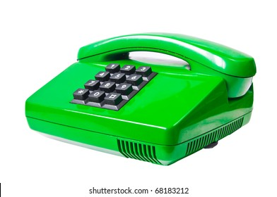 Green phone isolated on white