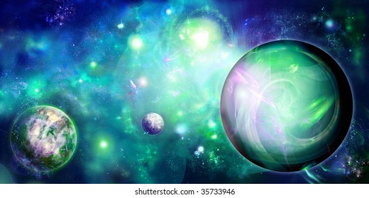 green picture with space, three planets