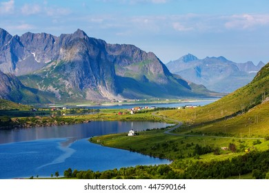 Green picturesque landscape of Norway