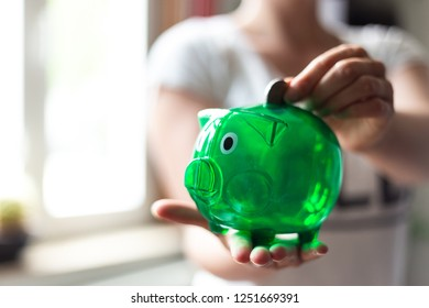 Green piggy Bank is lined with Euro coin
