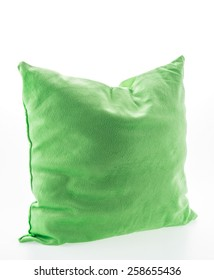 Green pillow isolated on white background