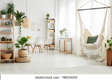 Green pillow on a hammock and plant on pouf in bright living room interior with white chairs