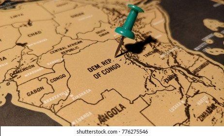 The green pin on the map of Democratic Republic of Congo.