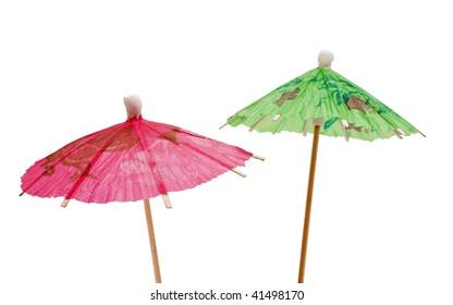 green and pink paper umbrella