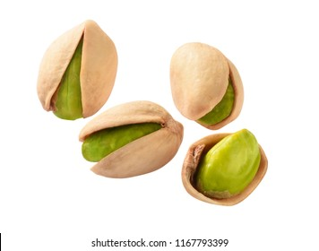 green pistachio nuts isolated