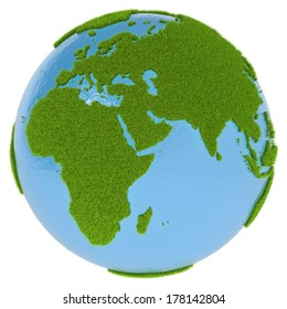 Green planet with blue oceans and continents covered with grass isolated on white background. Concept of ecology and clean environment