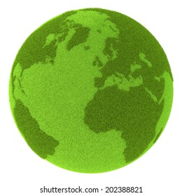 Green planet Earth covered with grass isolated on white background. Concept of ecology and clean environment. Elements of this image furnished by NASA