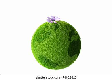 Green planet with flower