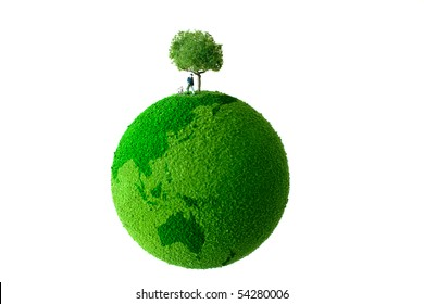Green planet with man and dog